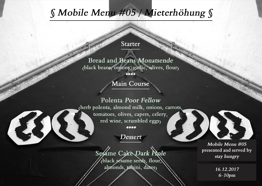 stay hungry mobile menu #5 Berlin project space Daniel Kiss Benjamin Zuber